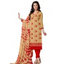 Office Wear Beige & Red Salwar Suit  - Aashiqui gold 61021