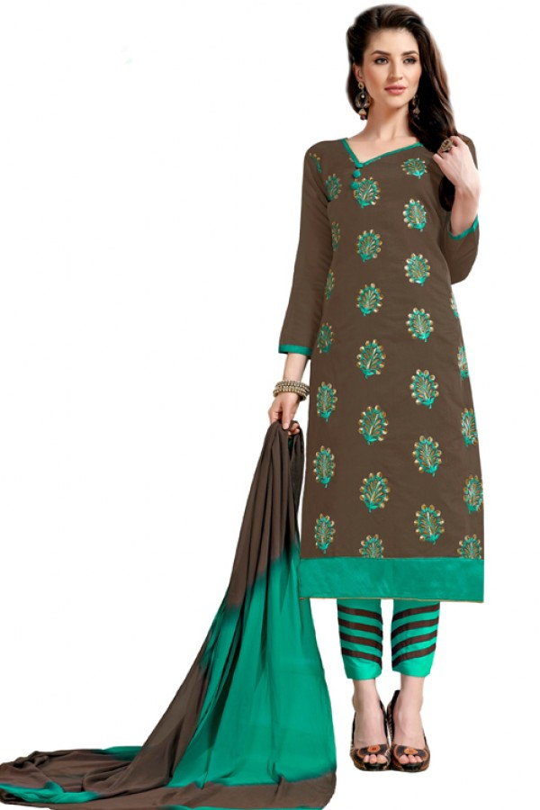 Ethnic Wear Grey & Turquoise Salwar Suit  - Aashiqui gold 61022