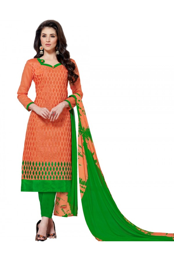 Ethnic Wear Orange & Green Salwar Suit  - Aashiqui gold 61024
