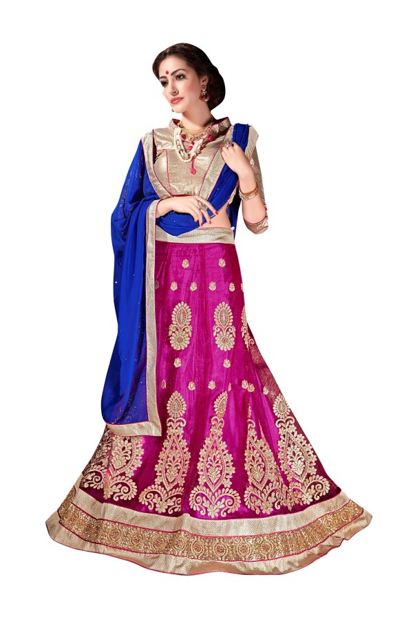 Ethnic Wear Net Dark Pink Lehenga Choli - ALISHA 35114