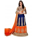 Ethnic Wear Net Orange & Blue Lehenga Choli - ALISHA 35101