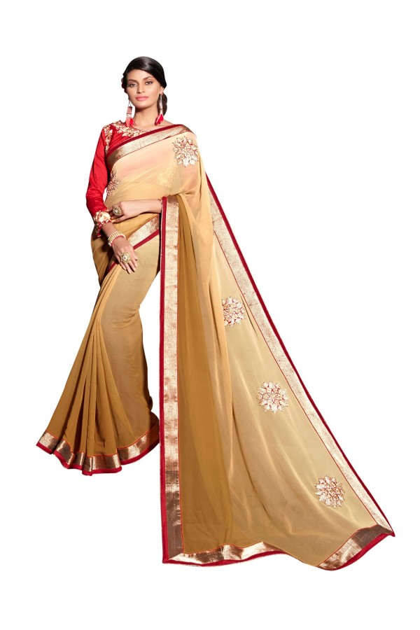 Party Wear Georgette Beige Saree - AMREEN4610