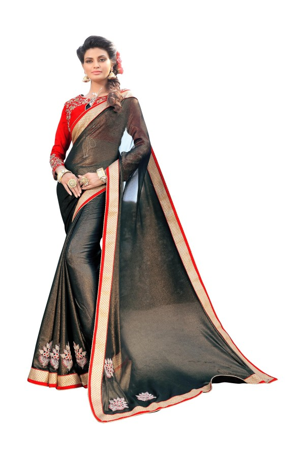 Party Wear Georgette Black Saree - AMREEN4609