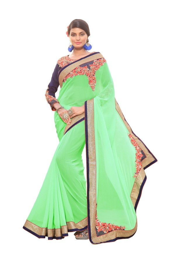 Party Wear Georgette Green Saree - AMREEN4605
