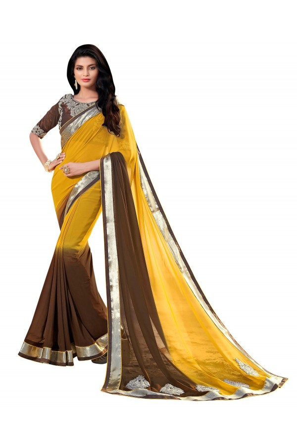 Party Wear Georgette Yellow & Brown Saree - AMREEN4608