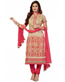 Chanderi Cotton Beige Churidar Suit - EMAIRA5509