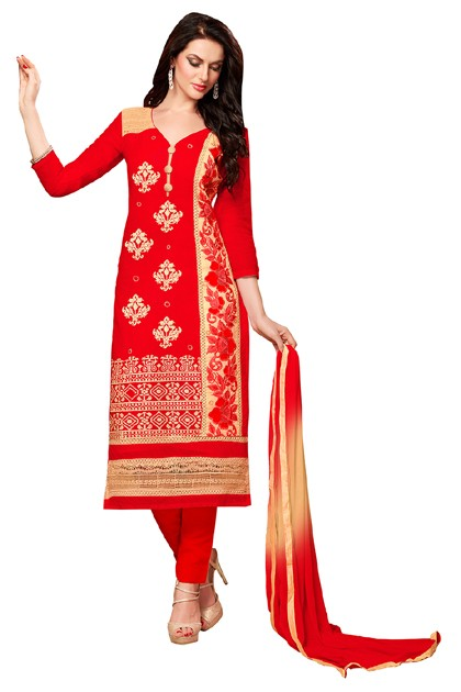 Ethnic Wear Red Chanderi Cotton Salwar Suit  - EXOTIC1403