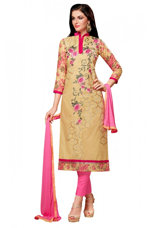 Festival Wear Beige & Pink Cotton Churidar Suit  - EXOTIC1405