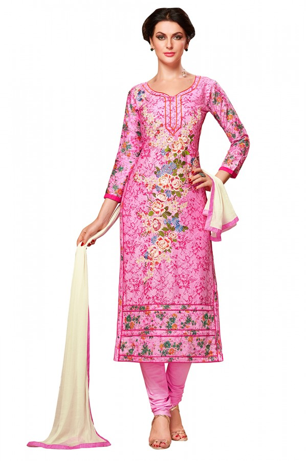 Ethnic Wear Pink Chanderi Cotton Churidar Suit  - EXOTIC1406
