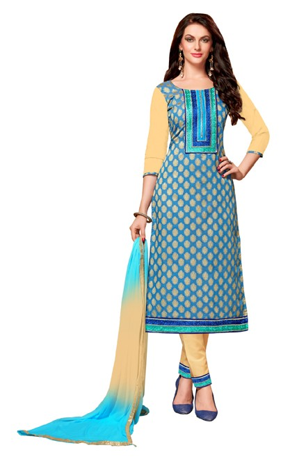 Office Wear Blue & Beige Cotton Salwar Suit  - EXOTIC1410