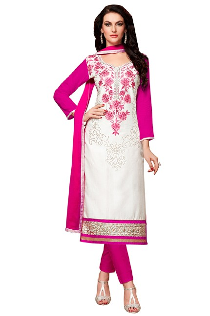 Festival Wear White & Pink Cotton Salwar Suit  - EXOTIC1412