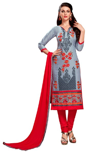 Office Wear Grey & Red Cotton Salwar Suit  - EXOTIC1413