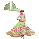 Ethnic Wear Net Light Green Lehenga Choli - GOLDEN LEAF5302
