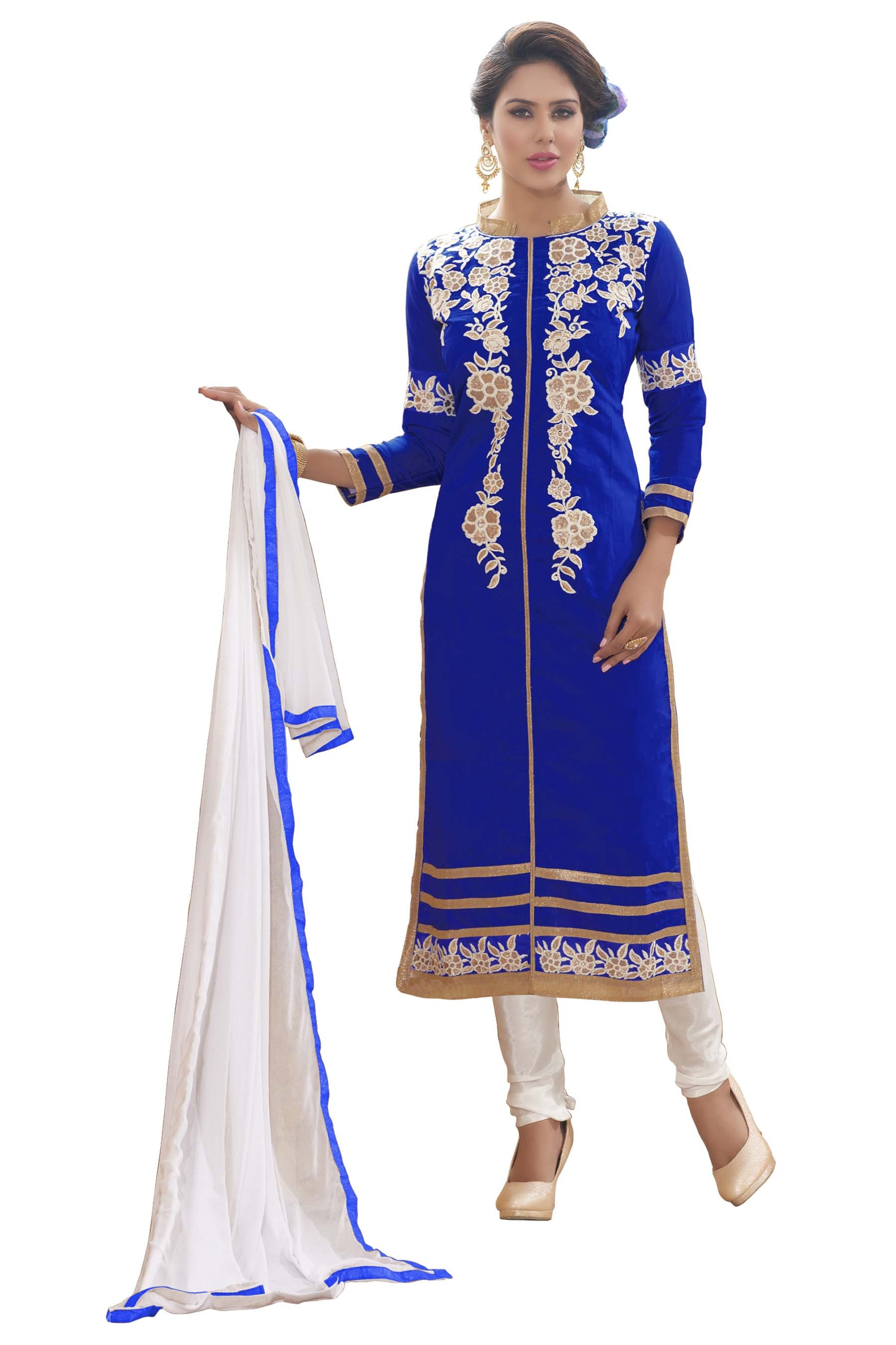 Chanderi Silk Blue Churidar Suit - MARIYAM1008