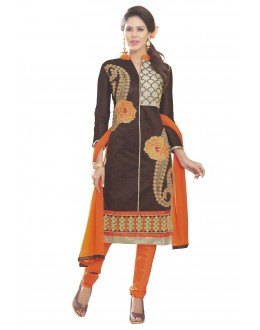 Chanderi Silk Coffee Churidar Suit - MARIYAM1003