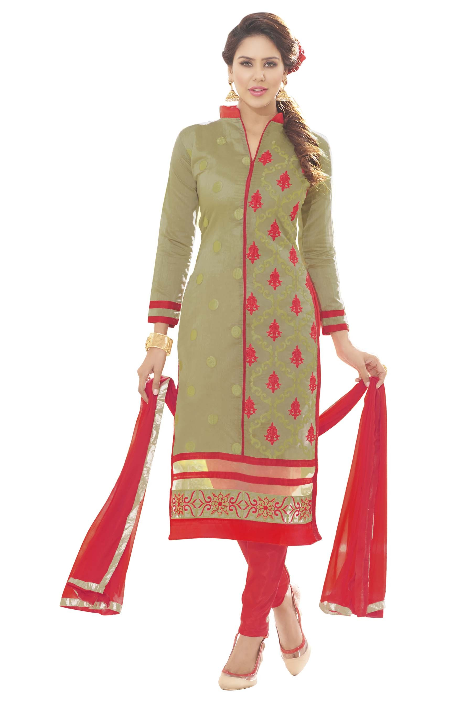 Chanderi Silk Grey Churidar Suit - MARIYAM1009