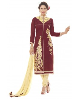 Chanderi Silk Maroon Churidar Suit - MARIYAM1011