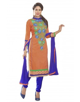 Chanderi Silk Orange Churidar Suit - MARIYAM1005