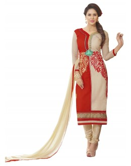 Chanderi Silk Red & Cream Churidar Suit - MARIYAM1006