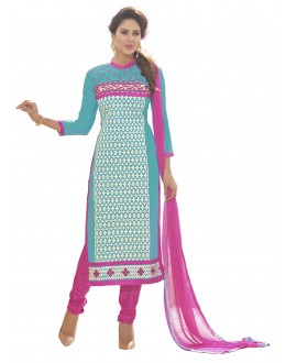 Chanderi Silk Sky Blue Churidar Suit - MARIYAM1010
