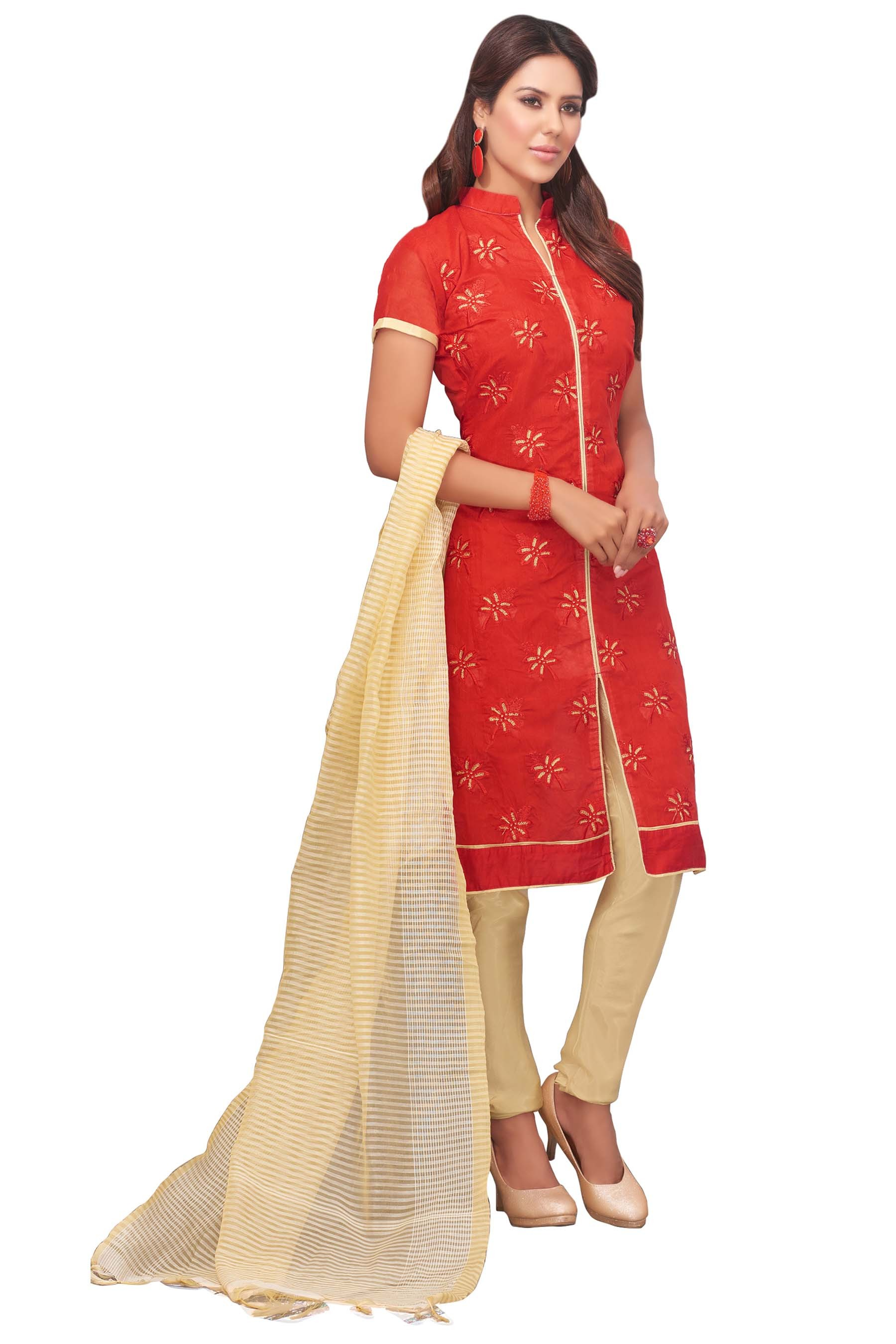 Party Wear Chanderi Silk Red Churidar Suit - RASIKA 23014