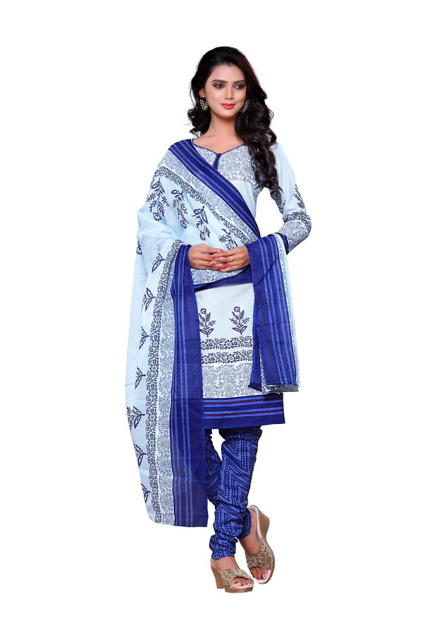 Semi Cotton Blue Churidar Suit Dress Material - ROYAL VOLUME-11014