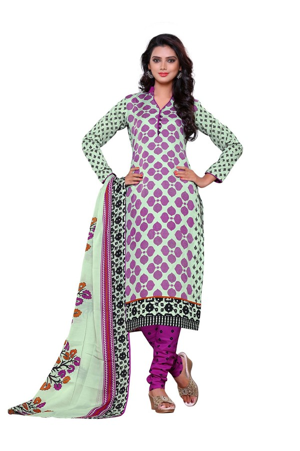 Semi Cotton Multicolor Churidar Suit Dress Material - ROYAL VOLUME-11041