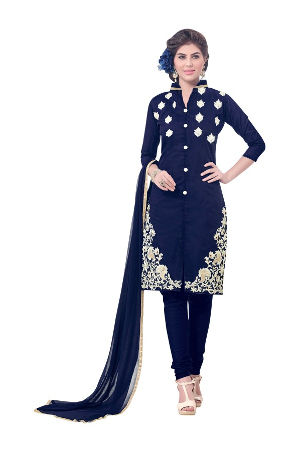 Party Wear Chanderi Blue Churidar Suit - SAHIDA 44003