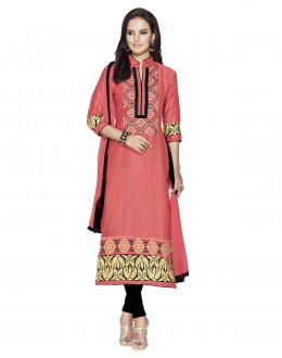 Beautiful Pink & Black Embroidered Salwar Suit - 109