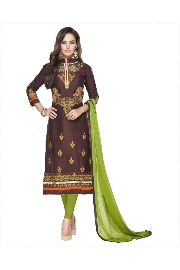 Party Wear Brown & Green Embroidered Salwar Suit - 112