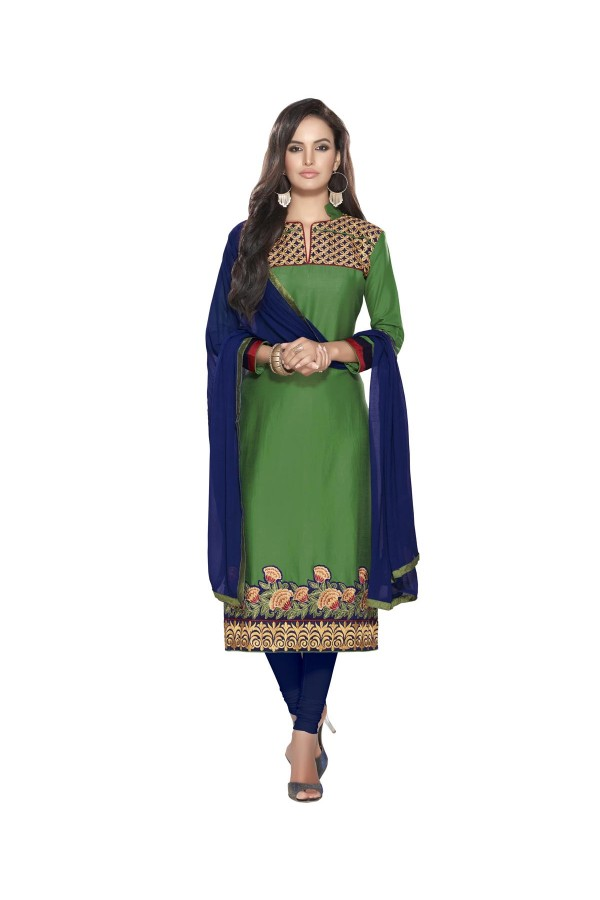 Party Wear Outstanding Green & Blue Embroidered Slawar Suit - 106