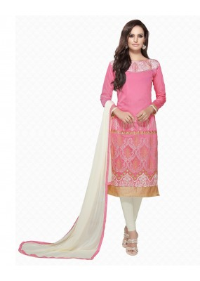 Party Wear Pink & Off-White Embroidered Salwar Suit - 111