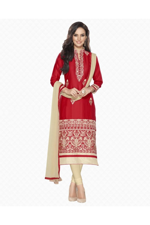 Party Wear Red Embroidered Slawar Suit - 102