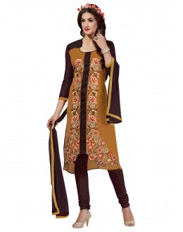 Chanderi Cotton Brown & Mustard Churidar Suit - VINTAGE6307