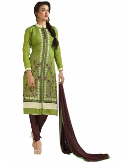 Chanderi Cotton Green Churidar Suit - VINTAGE6306