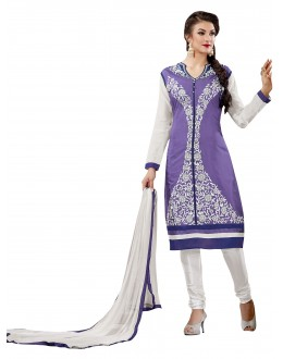 Chanderi Cotton Sky Blue & White Churidar Suit - VINTAGE6302