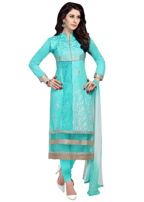 Eid Special  Sky Blue  Cambric Cotton  Churidar Suit - 1052