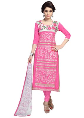 Eid Special  Pink Cambric Cotton Churidar Suit - 1053