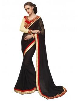 Party Wear Black & Red Georgette Saree  - SAKSHI6