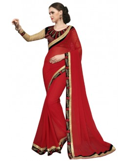 Festival Wear Red & Black Georgette Saree  - SAKSHI7