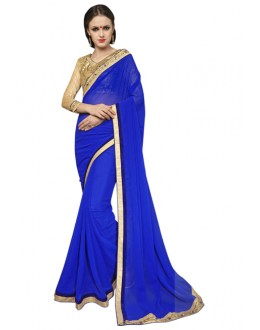 Ethnic Wear Blue & Golden Georgette Saree  - SAKSHI8