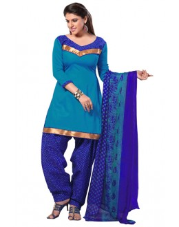 Casual Wear Sky Blue Un-Stitched Patiala Suit - SUP1005