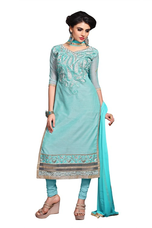 Eid Specialel Sky Blue CHANDERI COTTON Churidar Suit - 1104