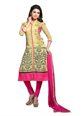 Eid Specialel Yellow CHANDERI COTTON Churidar Suit - 1107