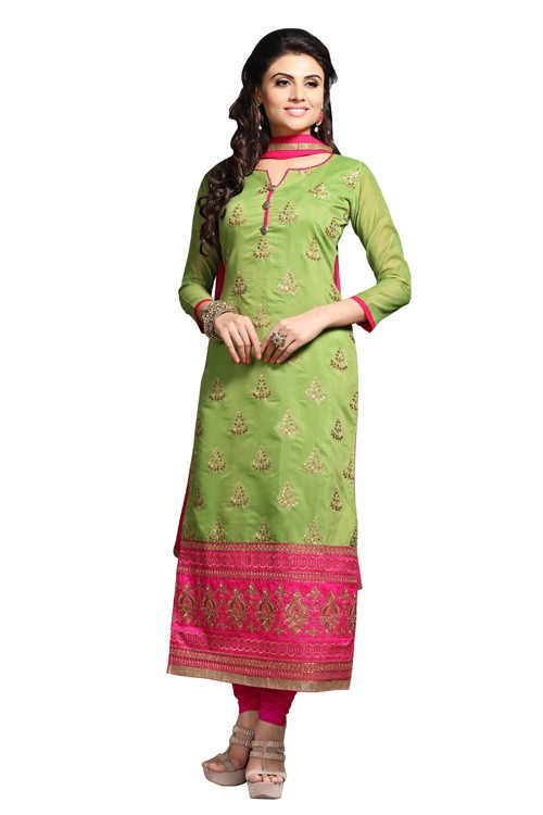 Eid Specialel Green CHANDERI COTTON Churidar Suit - 1113
