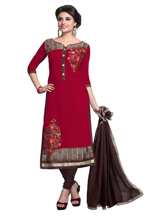 Eid Specialel Red CHANDERI COTTON Churidar Suit - 1114