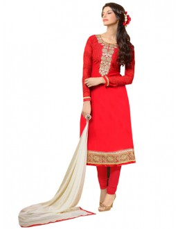 Eid Special Red Georgette Churidar Suit -  SNS1003