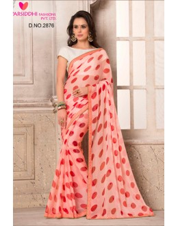Ethnic Wear Peach Chiffon Saree  - VARSIDDHI-2876