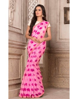 Pink Colour Chiffon Printed Saree  - VARSIDDHI-2879