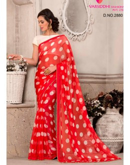 Casual Wear Red Chiffon Saree  - VARSIDDHI-2880